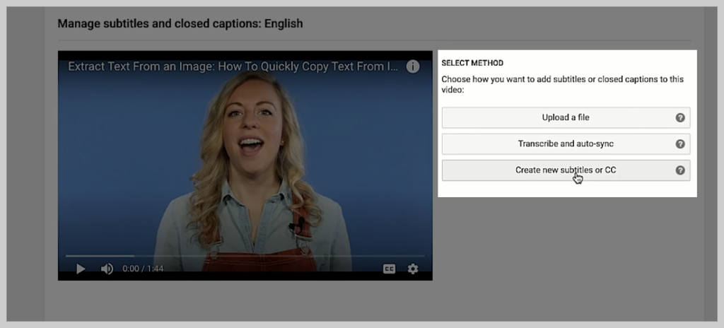 screenshot of how to add a subtitle or caption to a video in youtube step 3
