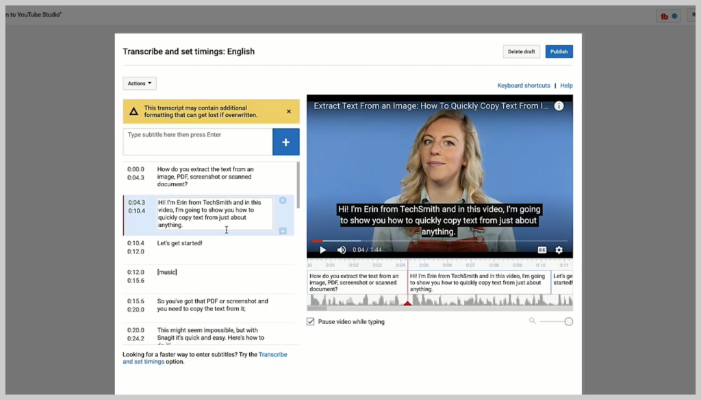 screenshot of how to add a subtitle or caption to a video in youtube step 5