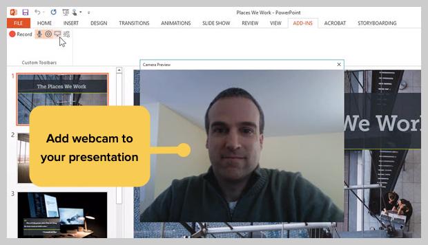 screenshot of adding webcam to a presentation recording