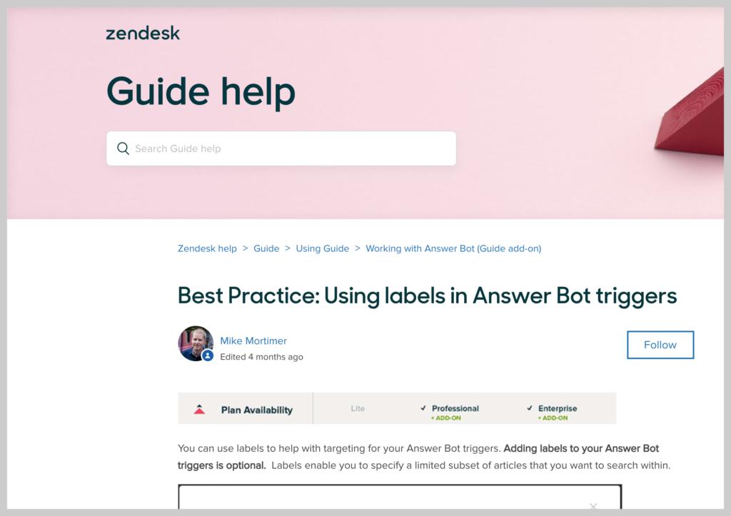 screenshot of a zendesk knowledge base article subheading
