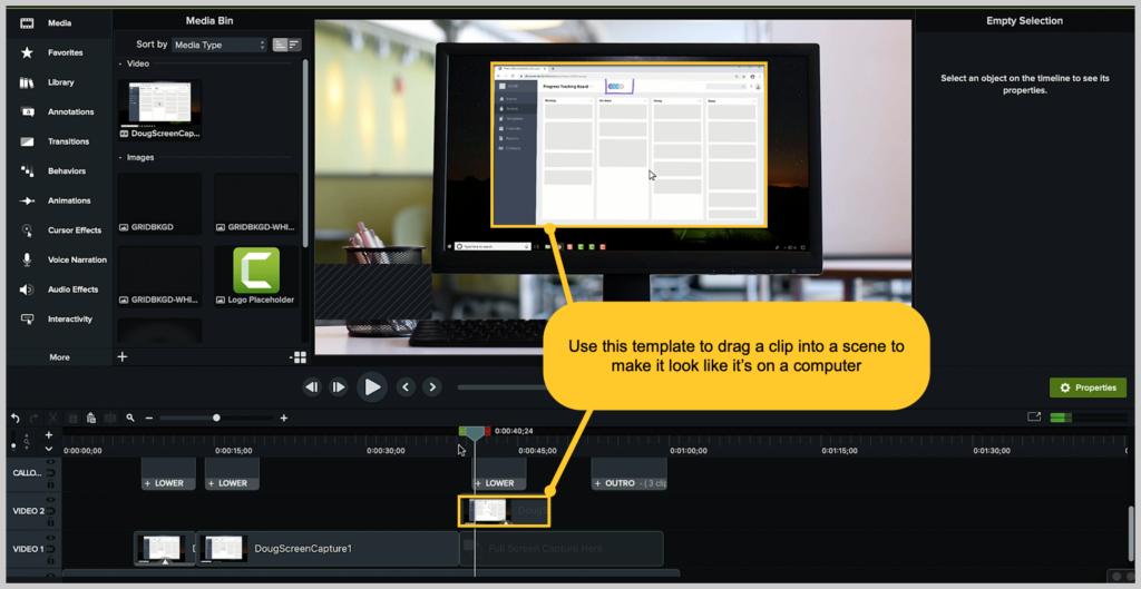 camtasia screenshot how to make a demo video device frame