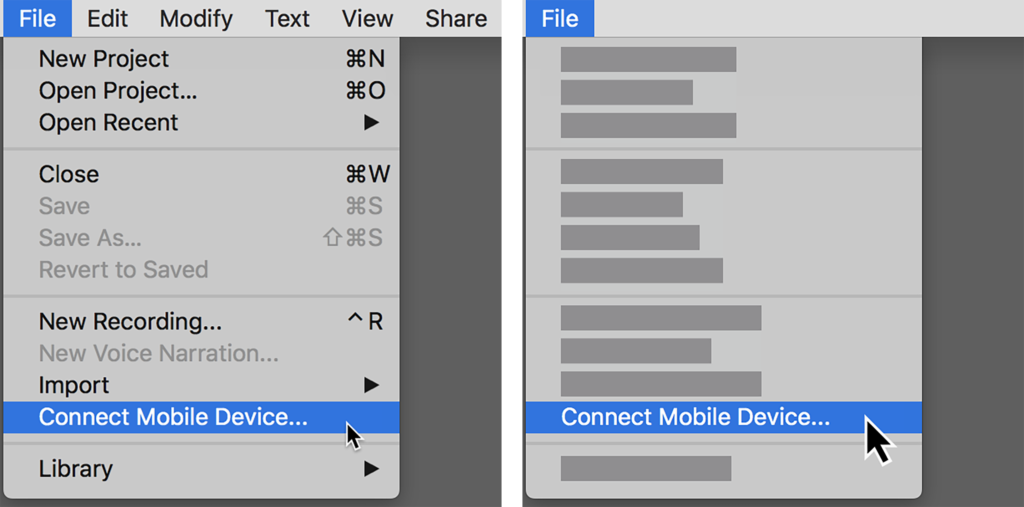 Example screenshot before and after removing irrelevant features
