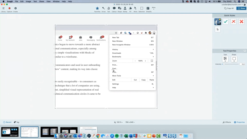 Screenshot for use in Snagit