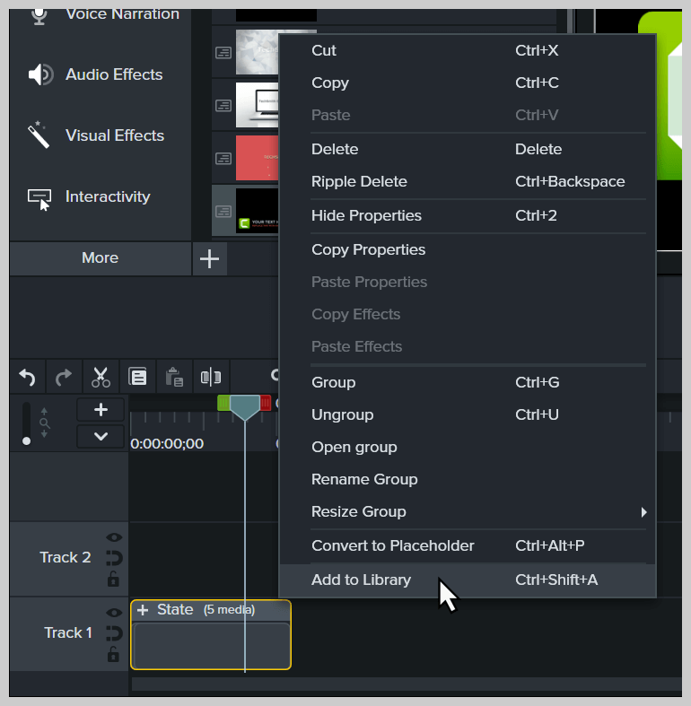 Screenshot showing right-click and choose Add to Library.