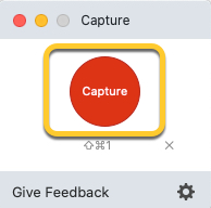 The Capture button in the TechSmith Capture window.