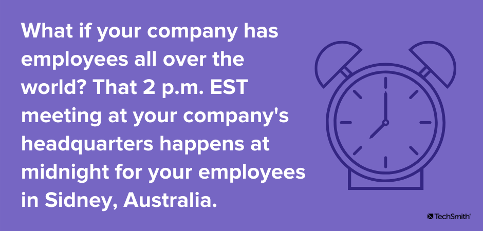 What if your company has employees all over the world? That 2 p.m. EST meeting at your company's headquarters happens at midnight for your employees in Sidney, Australia.