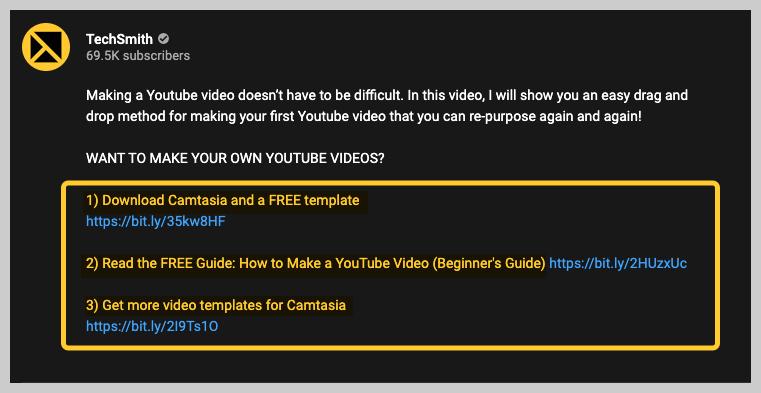 youtube description links example