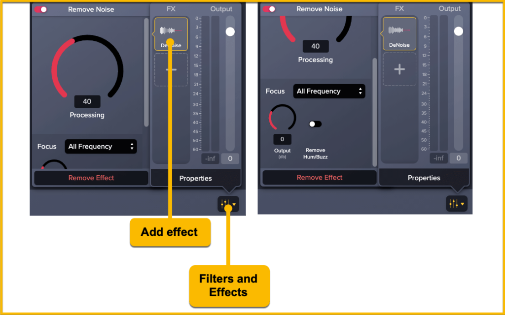 The Audiate add effects and filters panel.