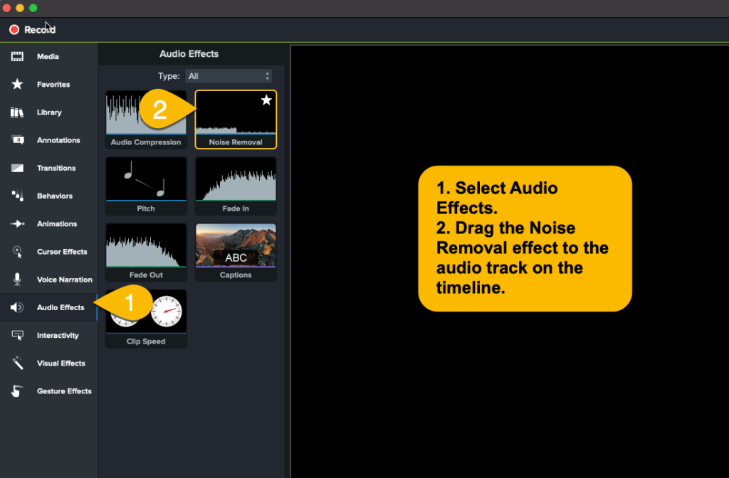 The Camtasia audio effects panel.