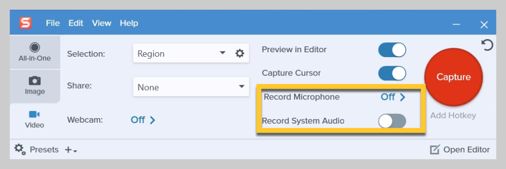 How to select your audio recording options on Snagit
