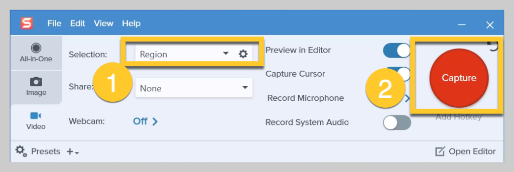 How to choose your recording region on Snagit