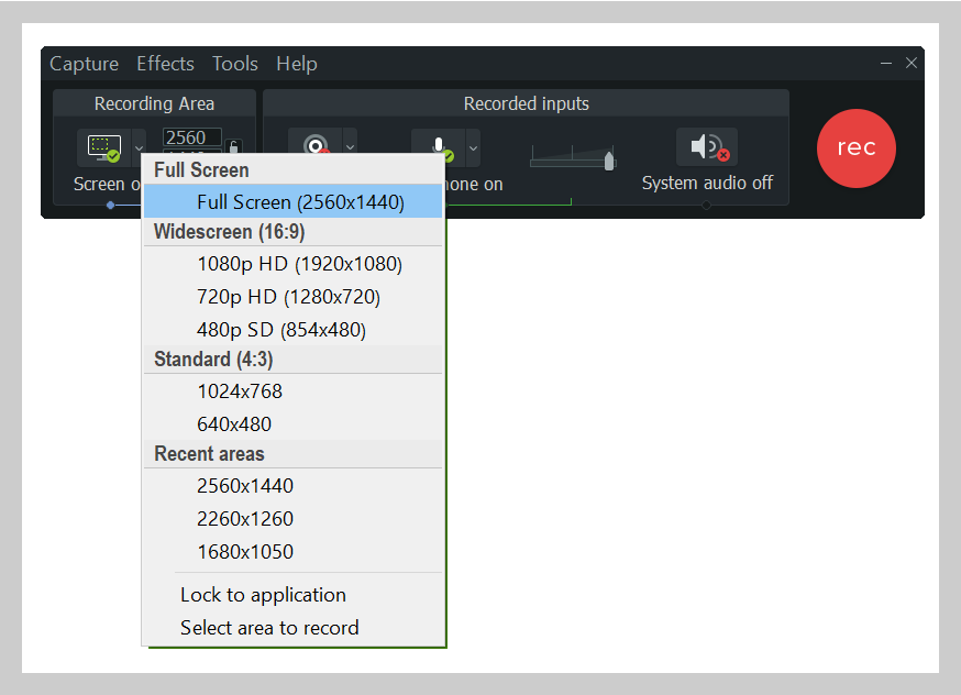 Select a custom region to record with Camtasia
