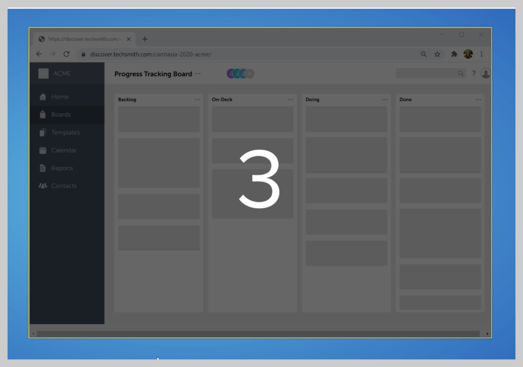 Snagit will give you a 3 second countdown before it starts recording