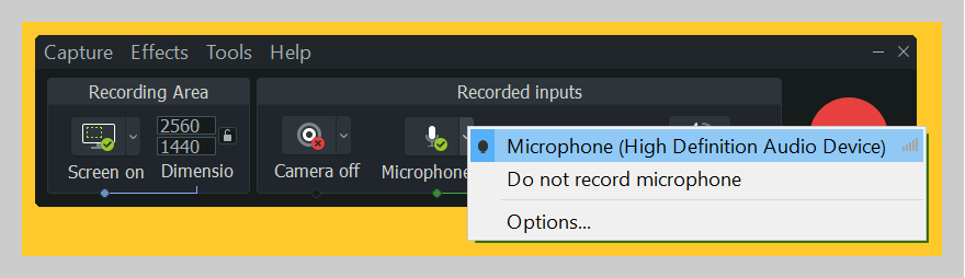How to select your microphone using Camtasia