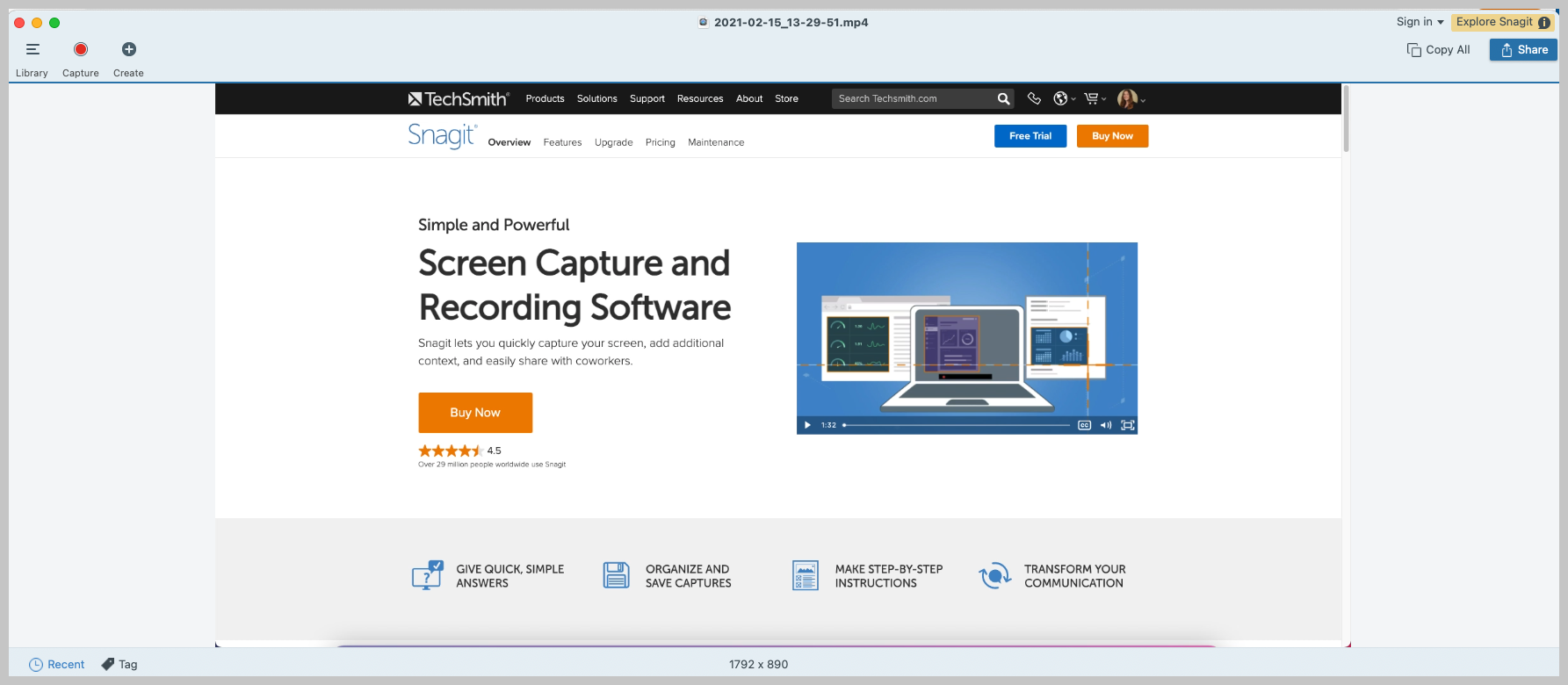 screenshot of the snagit editor with a screen recording in it