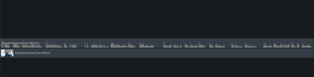 Separated audio and video on the Camtasia timeline.
