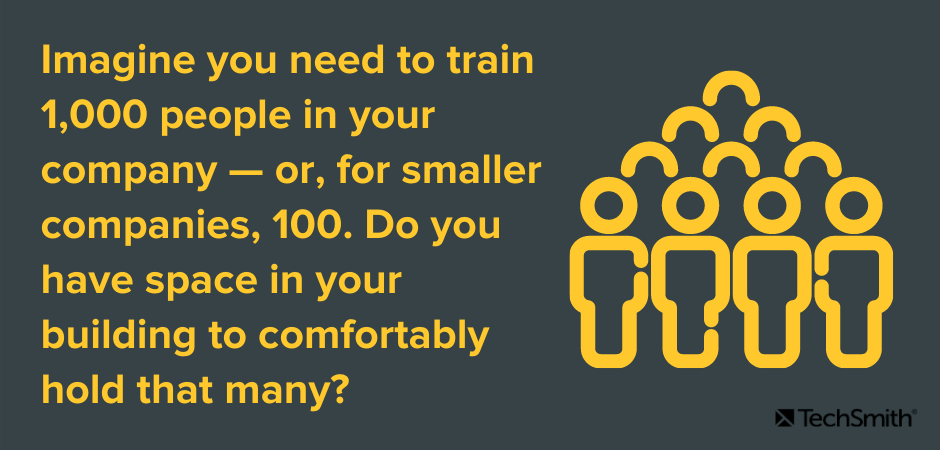 Imagine you need to train 1,000 people in your company — or, for smaller companies, 100. Do you have space in your building to comfortably hold that many?