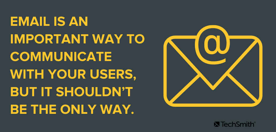Email is an important way to communicate with your users, but it shouldn't be the only way.