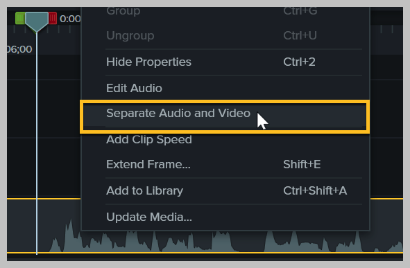 How to separate audio and video in Camtasia.