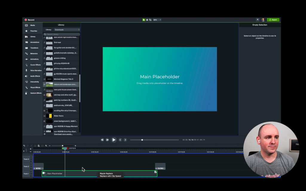 Structuring a Video with Placeholders