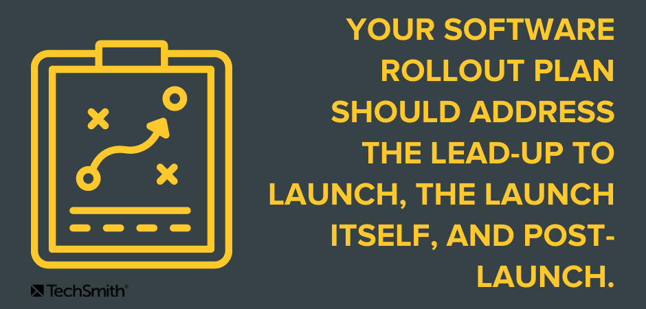 Your software rollout plan should address the lead-up to launch, the launch itself, and post-launch.