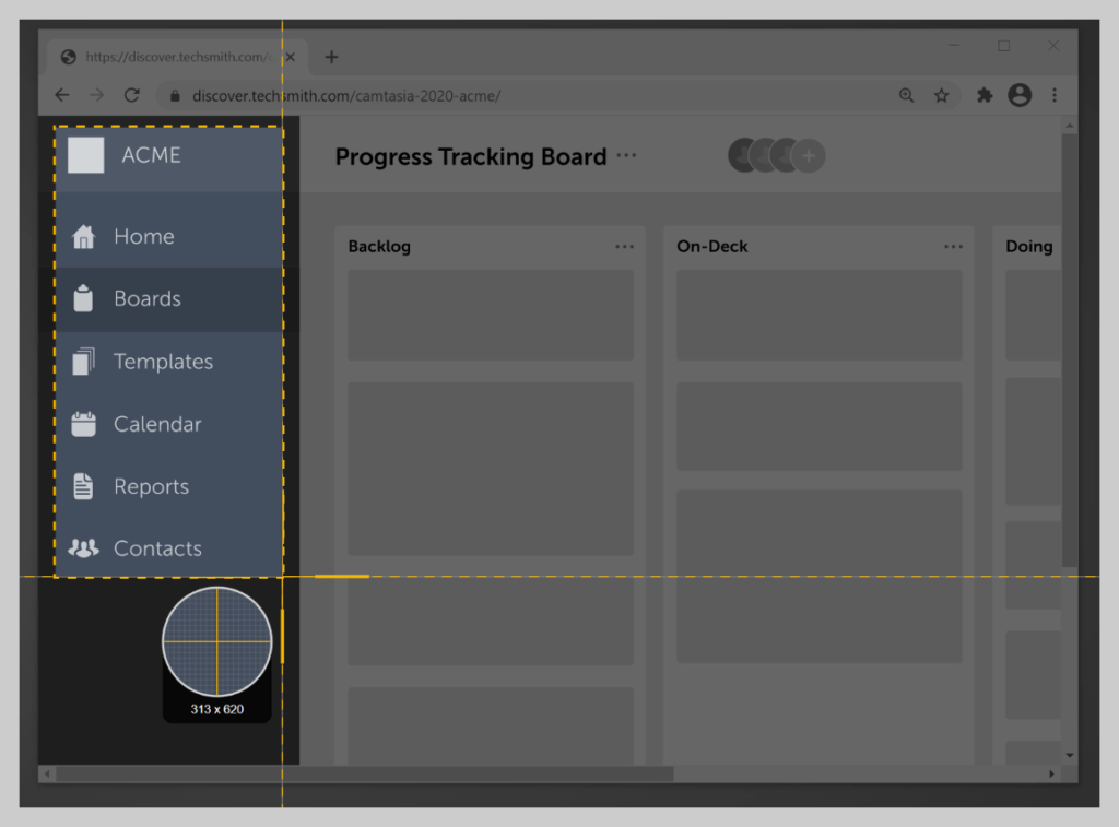 How to use the Snagit crosshairs