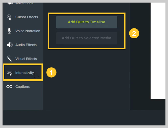 How to add an interactive quiz in Camtasia
