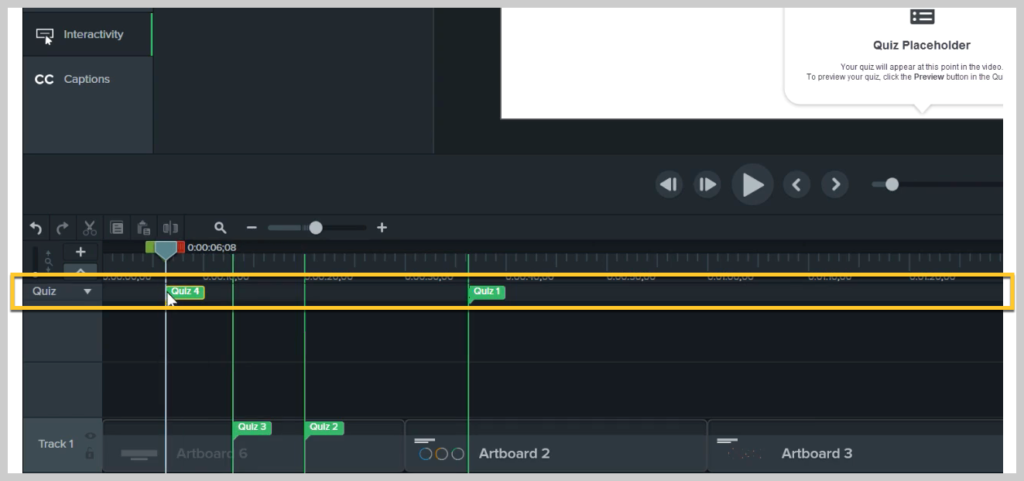 How to add quizzes to the timeline in Camtasia