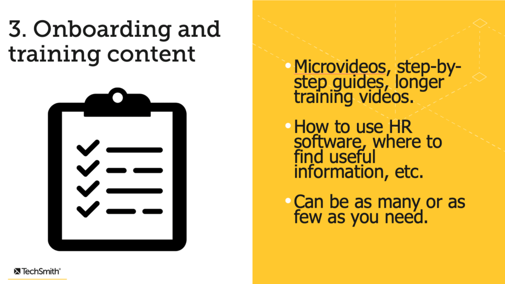 Onboarding and training content.