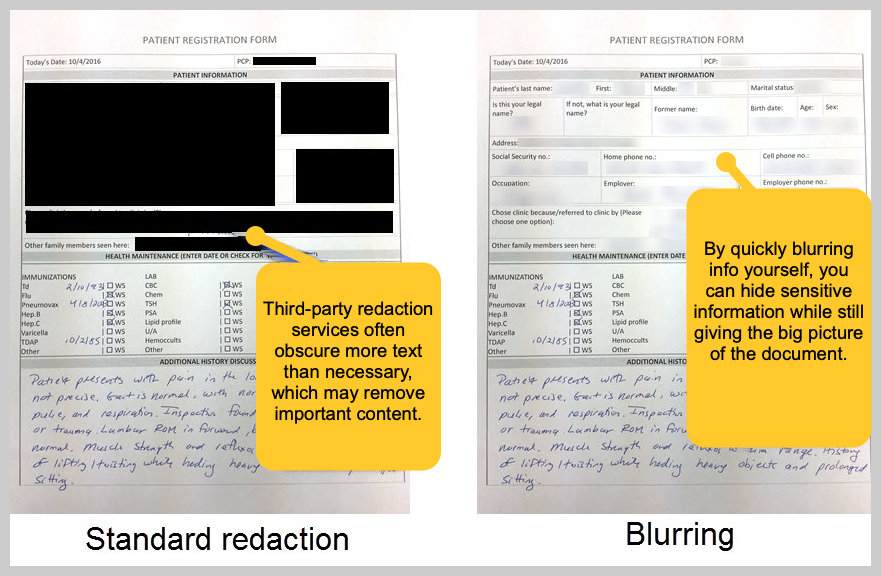 Blurring information on patient forms.