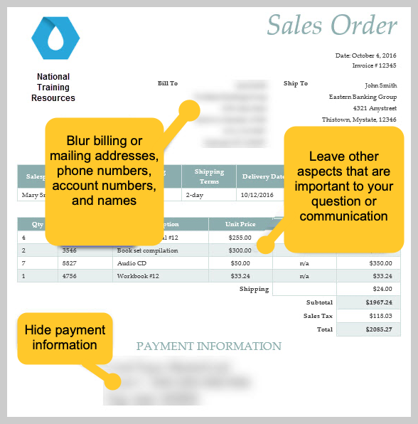 A sales order with blurred information.