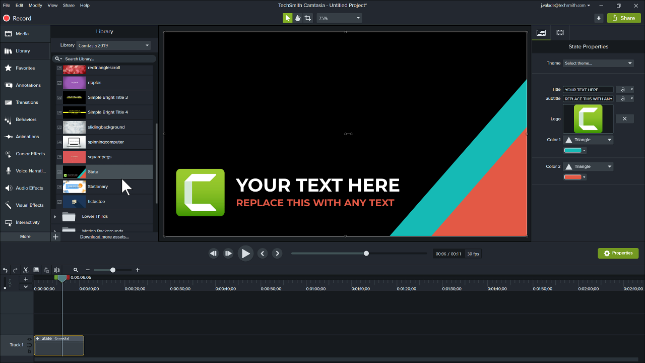 Camtasia editor with a prebuilt intro on the track