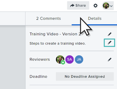 Video review details tab