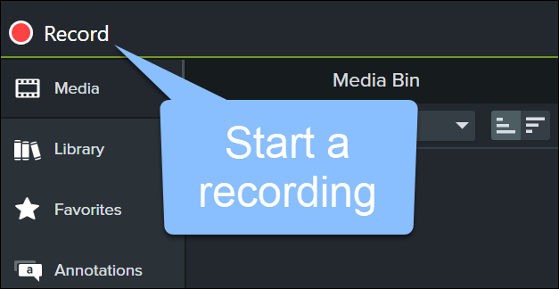 Start a recording with the record button