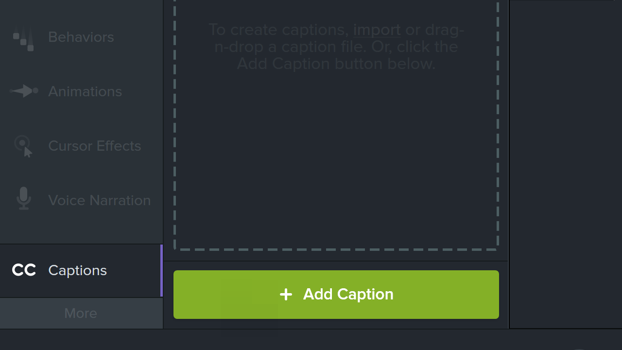 Add caption button