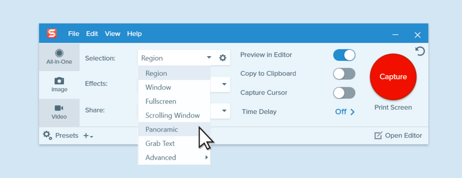 The Snagit capture window with the image tab selected and the panoramic option selected from the Selection dropdown