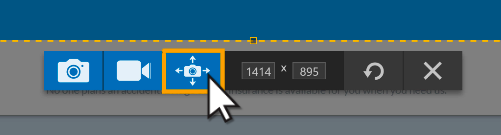 The Snagit capture toolbar with an orange box around the panoramic capture button