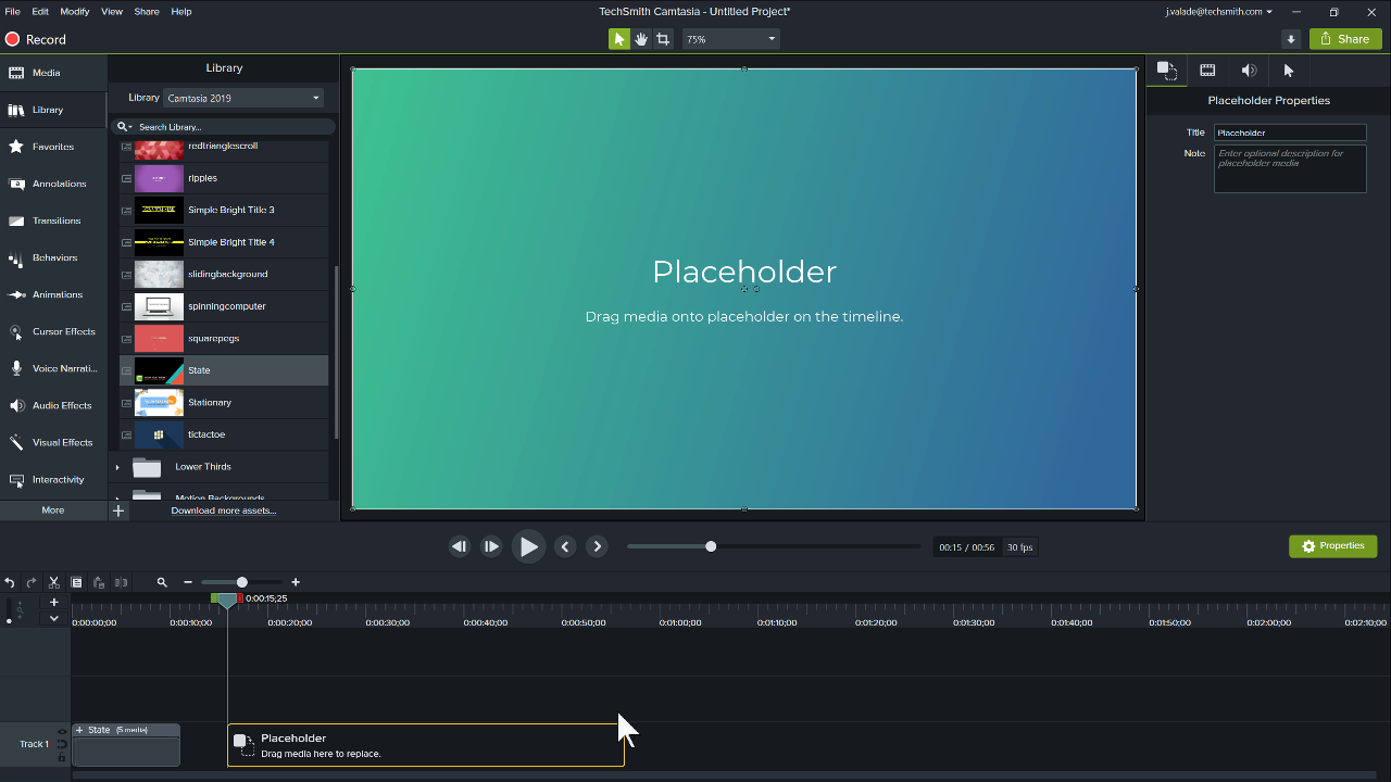 Camtasia editor with a placeholder on the track