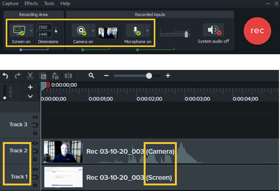 Camtasia recorder and Camtasia editor after recording both screen and webcam footage