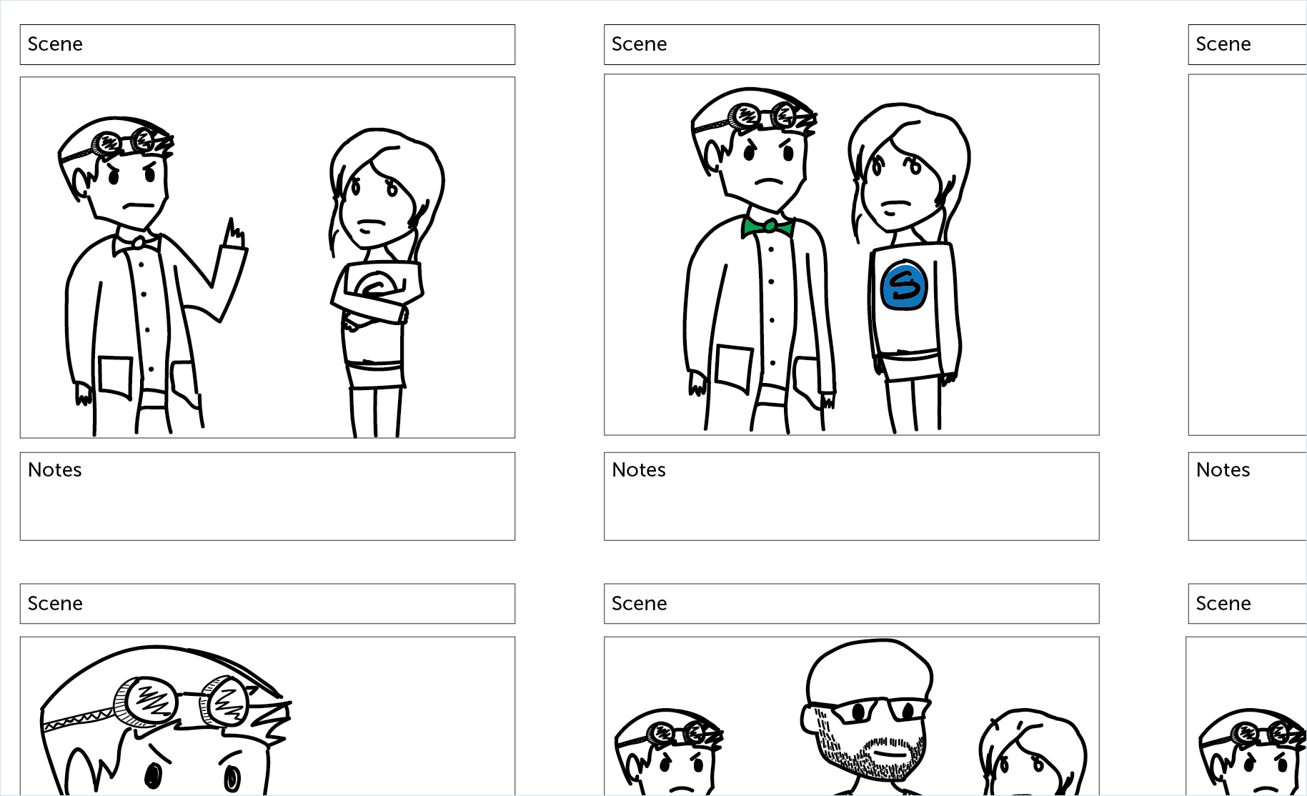 storyboard with hand drawn characters in each scene