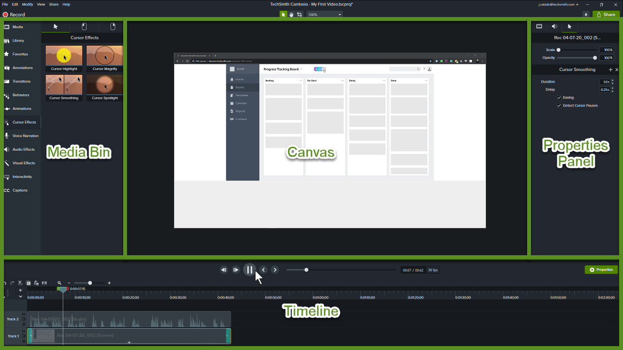 Camtasia editor including the canvas, timeline, media bin, and properties panel