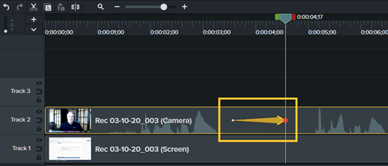 The camtasia timeline with an animation placed on the track with the camera footage