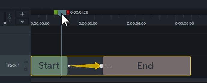 the animation arrow on the camtasia timeline, where the state of the media will change before and after the animation arrow
