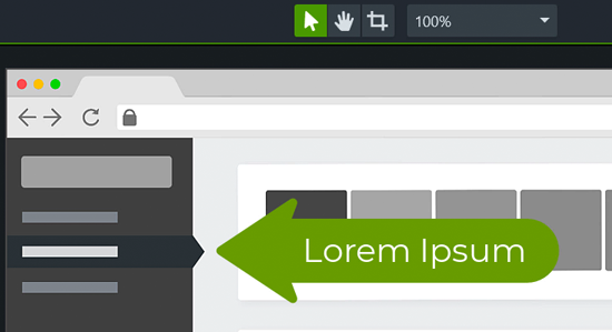 Green arrow with text 'lorem ipsum' pointing to a section of the screen