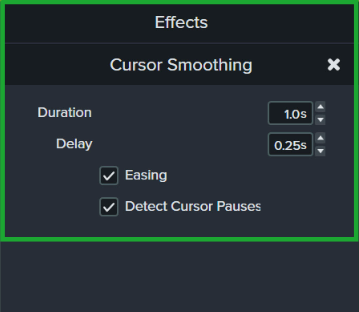 The properties panel of the cursor smoothing effect, which controls the duration, delay, easing, and cursor pauses