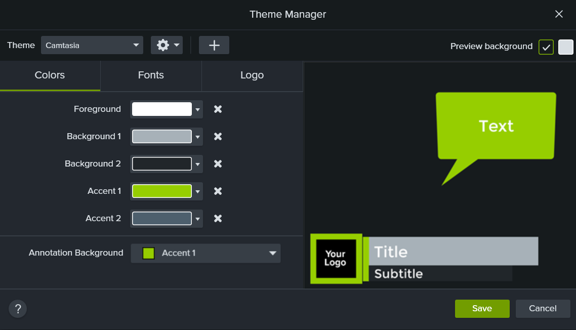 Theme Manager window within Camtasia which has the option to select theme colors, fonts, and a logo