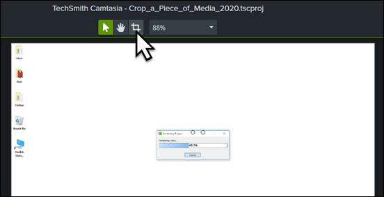 Camtasia canvas Crop Media button