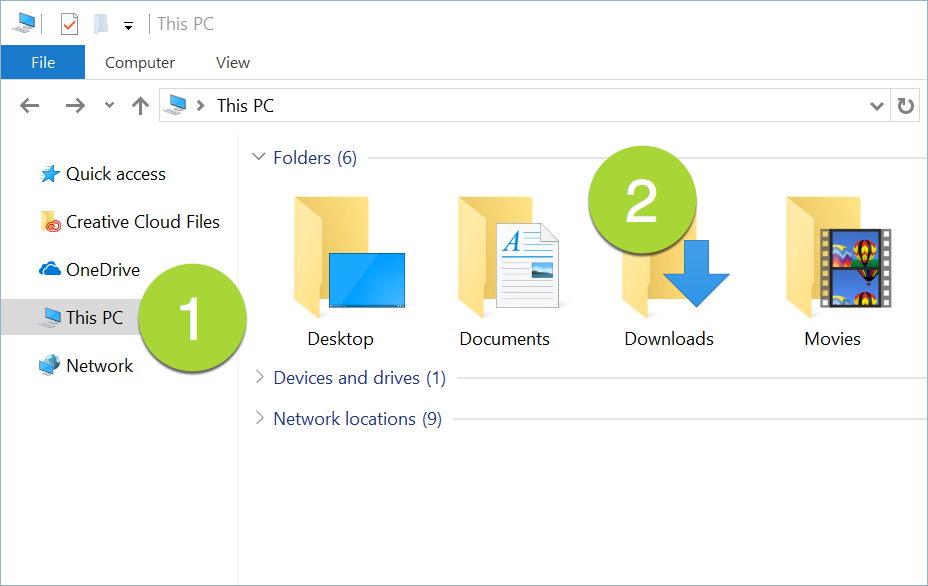 file explorer downloads folder window