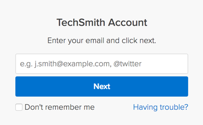 TechSmith Account login window