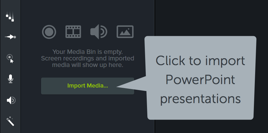 Click Import Media to import PowerPoint presentations